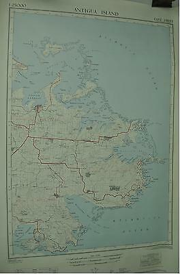Antigua Island Willikies Vintage Survey Map 1970