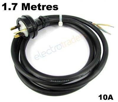 Power Tool Appliance Replacement Lead 10A 3 Pin Plug H07 Rubber 2.0m