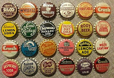 24 different SODA BOTTLE CAPS unused cork