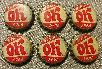 6 OK soda bottle caps unused