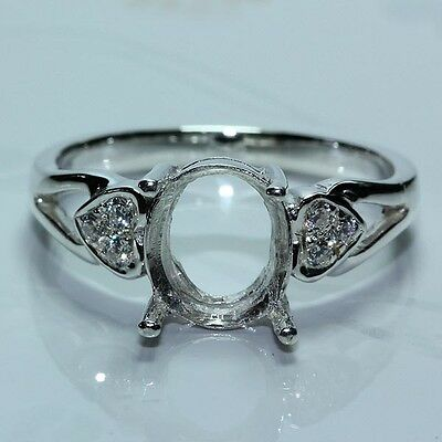 9x7 Oval stone semi-mount setting CZ sterling silver 925 ring #235