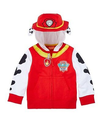 Paw Patrol Toddler Boys Marshall Hoodie Red Size 2T Full Zip Sweatshirt Jacket