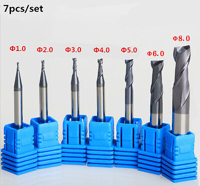 7PCS SET OF 1-2 -3-4 -5 -6- 8mm   CARBIDE END MILL TOOL BITS CUTTING TOOL