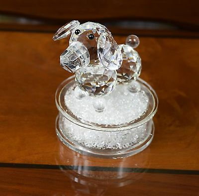 Puppy Dog Crystal Cut & Swarovski Element Inside Base with Gift Box