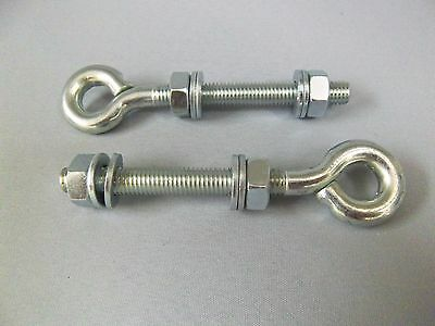 M10, BZP Eye Bolts. Qty 2, Includes BZP Nuts and Washers for fixing gate hinges.
