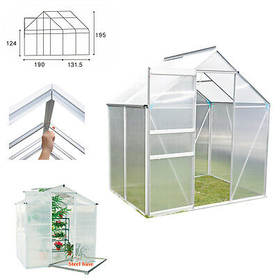 "Panana 6""x4"" Greenhouse Aluminium Polycarbonate With Steel Base Frame Grow House"