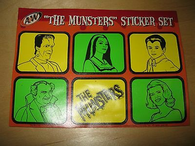 """A & W Root Beer """"the Munsters Sticker  Set"""" Set Of (6) Stickers Vintage Rare"""