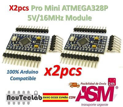 2pcs Pro Mini ATMEGA328P 5V/16MHz Module with Bootloader Pin Header for Arduino