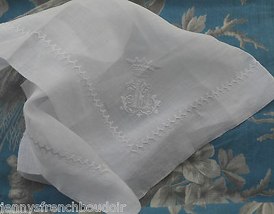 Antique French embroidered handkerchief, coronet and L monogram, 19th century