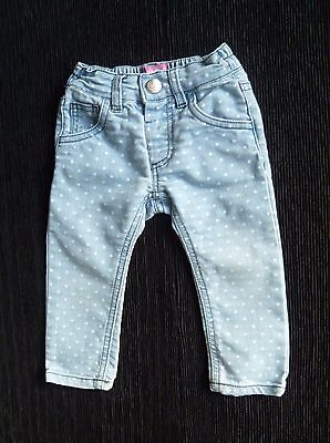 Baby clothes GIRL 9-12m light blue/white spotted denim jeans slim-style stretch