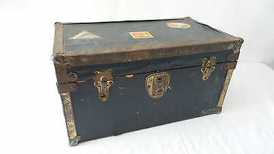 Antique Doll Trunk Chest Metal Clad Wood Trunk Black with Travel Stickers