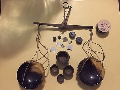 Antique 1800s German Apothecary Brass & Celluloid Balance Scales with Weights