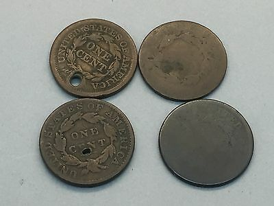4 Large Cents 1800, 1854, 1833, 1818? 2 Holed