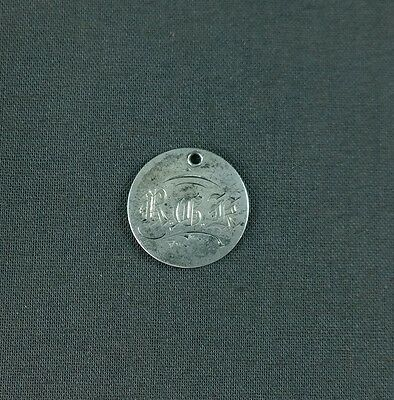 Antique Silver Love Token RGK Calligraphy Initials 1875 Seated Liberty Dime
