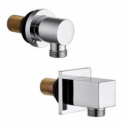 """Chrome Square Round Brass Shower 1/2"""" BSP Wall Outlet Elbow Concealed Shower"""