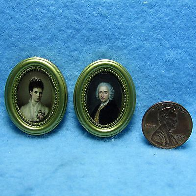 Dollhouse Miniature Victorian Couple Pictures Set of Two in Gold Frame ~ G7057