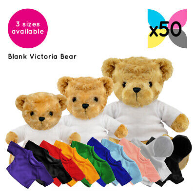 50 Blank Victoria Teddy Bears Soft Toys Plain T-Shirt Hoody Transfer Sublimation