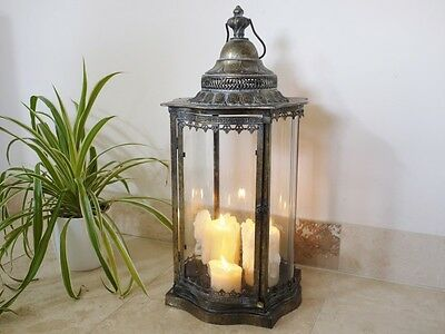 LARGE ANTIQUE STYLE METAL LANTERN CANDLE HOLDER HOME WEDDING 70cm