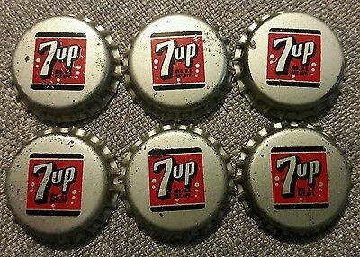 6 Seven Up 7UP SODA BOTTLE CAPS unused cork