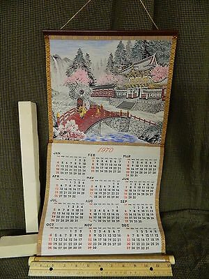 Vtg Oriental Silk Scroll Hanging Calendar 1970 Mint In Box