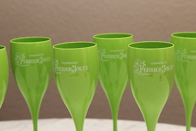 Rare Perrier Jouet Green Acrylic Champagne Flutes (6 PACK) Brand New With F/S
