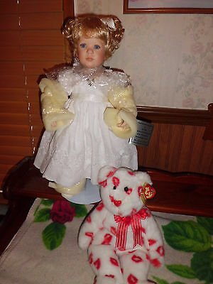 "Jeanne Singer by Danbury Mint 18"" tall Patience porcelain doll BNIB"