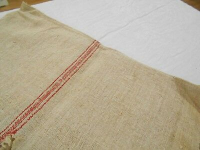 21x53 Vtg Antique RED STRIPE Nubby FRENCH HEMP LINEN Fabric FEED SACK GRAIN BAG
