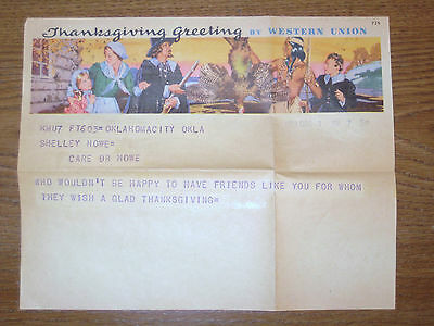Rare Vintage 1939 Western Union Telegram Thanksgiving Greeting Dec. 1,  in Color