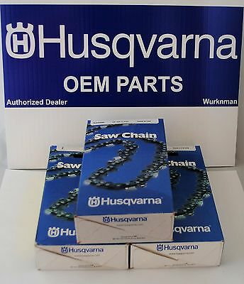 "Set of 3 OEM Husqvarna Chainsaw 20"" Chain Low Kick H80-72 501846572 3/8 .050 45"
