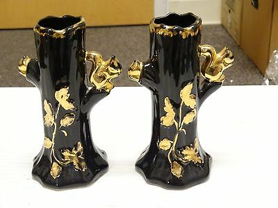 SET OF 2 Vintage Squirrel in Tree Bud Vase With 22 K.Gold Accents BLACK GOLD
