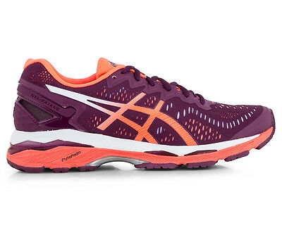 ASICS Women's GEL-Kayano 23 Shoe - Dark Purple/Flash Coral/White