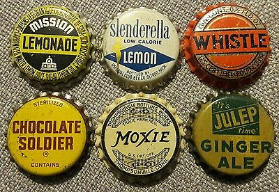 6 diff SODA BOTTLE CAPS unused cork #18