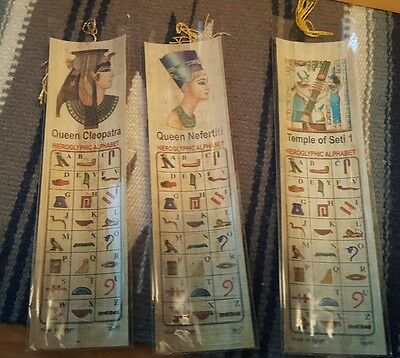Lot of 3 Egyptian Papyrus Paper Bookmarks Pharaoh Design