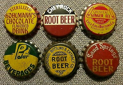 6 diff SODA BOTTLE CAPS unused cork #21