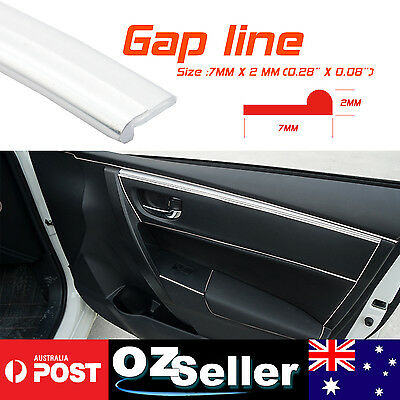 5M Silver Car Gap Trim Panel Dashboard Gauge Consoles Garnish Strips Universal