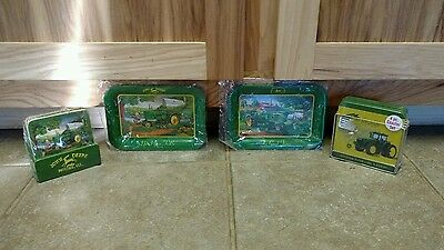 John deere tractor tins and coasters tin yellow green