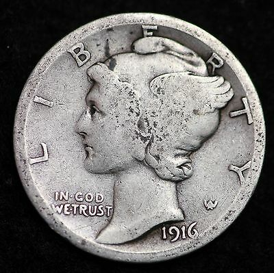*  1916-S Mercury Silver Dime Circulated G / VG FREE SHIPPING!