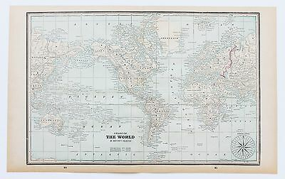 1893 World Map Mercator's Projection United States Asia Europe Russia Original