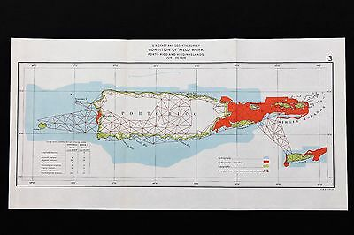 1928 Porto Rico Map Survey Virgin Islands St Croix St Thomas St John Vieques