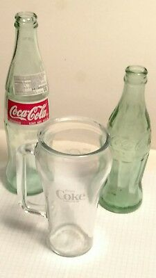 Coke Collectible Canada Drinking Glass w/ handle, Coca Cola Soda 12 & 6oz Bottle