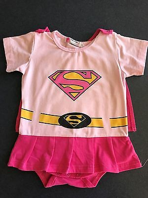 Baby Girls Pink Super Girl Romper Costume w Detachable Cape Size 12 - 18 months