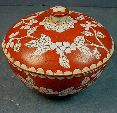 Antique Chinese Cloisonne Enamel Lidded Round Box