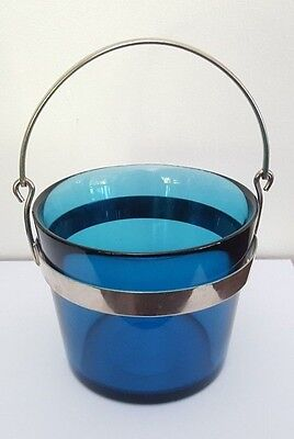 Vintage Orrefors Fuga Midnight Blue Ice Bucket with Tongs