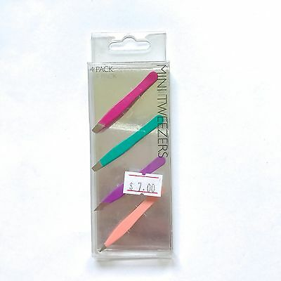 Pack of 4 Mini Tweezers Slant Straight Combination Point tips Travelling size Oz