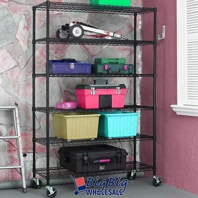 "86""x48""x18"" Black 6 Tier Layer Shelf Heavy Duty Metal Adjustable Wire Rack"