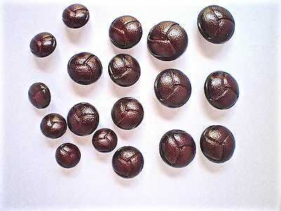 18 Imitation Leather Buttons Dark Brown In Three Sizes