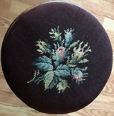 Antique Three Leg Carved Wood Round Piano Stool Plum Embroidery Top