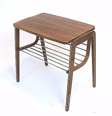 VINTAGE RETRO AUSTRIAN BRASS and WALNUT WENEER ACCENT/SIDE TABLE