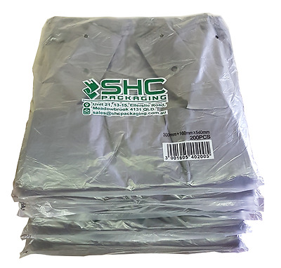 Plastic Singlet Grocery Shopping Checkout Bags LARGE GREY (1000PCS) Heavy Duty