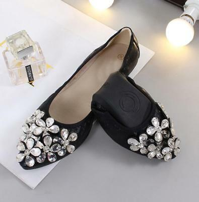 Womens Flat Pumps Ladies Glitter Ballet Dolly Bridal Bridesmaid Prom Shoes 3-9
